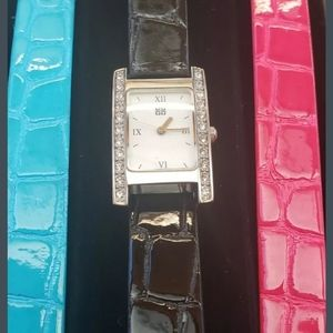 New Givenchy faux-crocs crystal watch w 3 bands